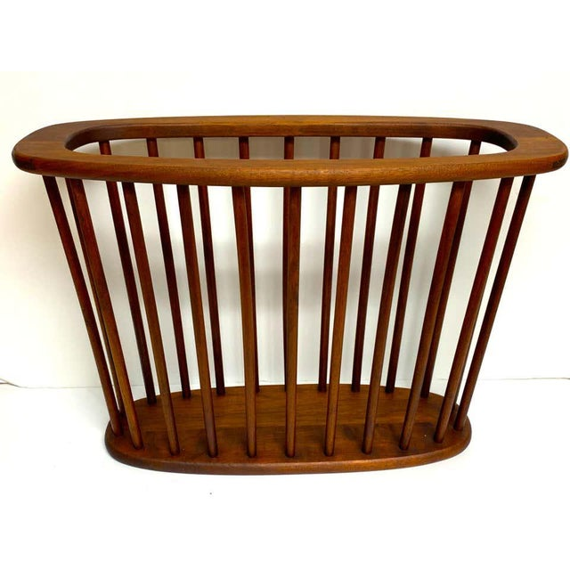 Danish Modern Oval Spindle Teak Magazine Rack For Sale In West Palm - Image 6 of 8