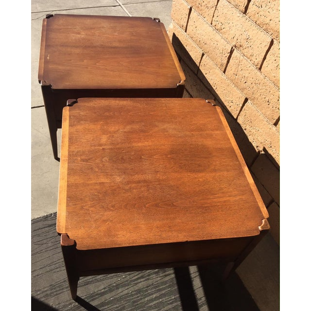 Mid-Century Modern 1960s Vintage Basset Walnut End Tables-a Pair For Sale - Image 3 of 9