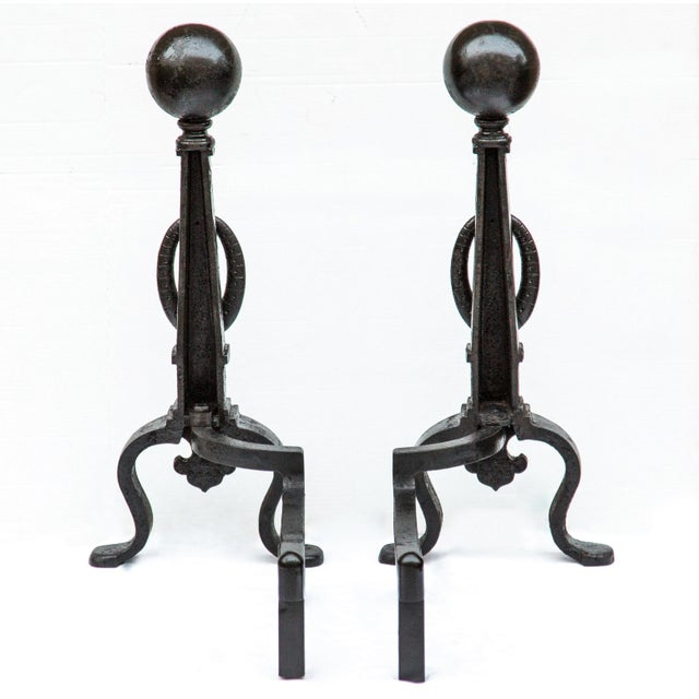 Black Pair of 1890s Bradley & Hubbard Tall Andirons For Sale - Image 8 of 11