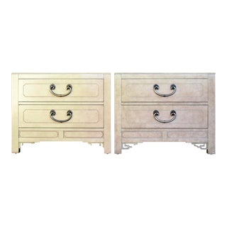 80s Chinoiserie Night Stands by White Furniture, a Pair For Sale