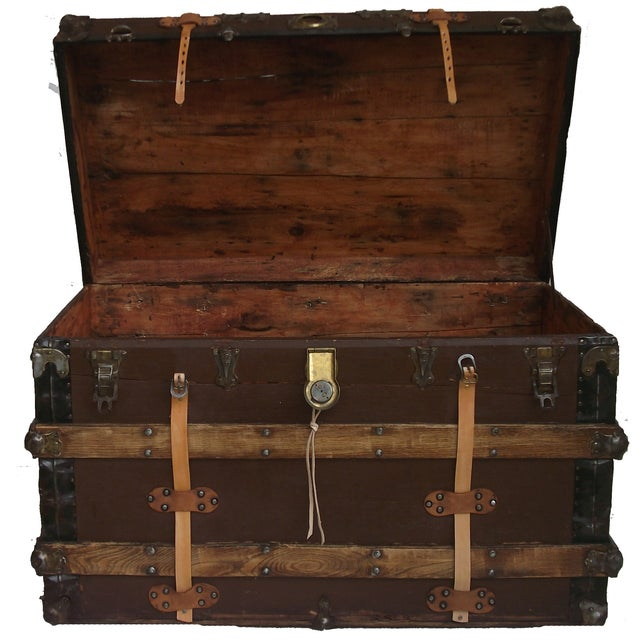 Antique Wood & Leather Trunk - Image 3 of 3