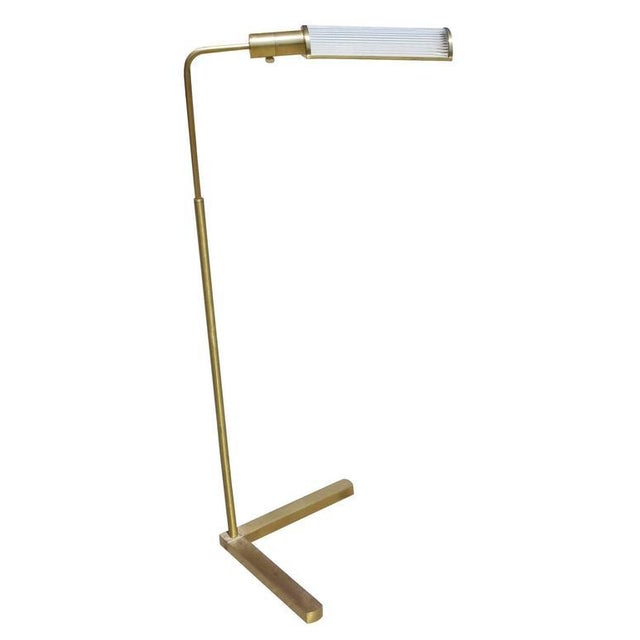 Modern Brass Pharmacy Floor Lamp with Glass Rod Shade by Casella For Sale - Image 3 of 6