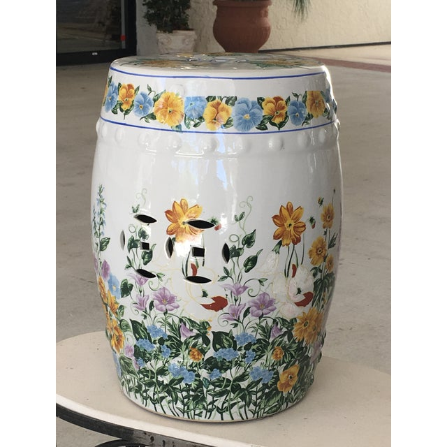 Ceramic Chinoiserie Floral Garden Seat For Sale - Image 7 of 7