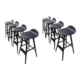 Erik Buck Rare Set of 8 Bar Stools For Sale