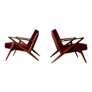 Mid-Century Modern Teak Armchairs Lounge Chairs - A Pair