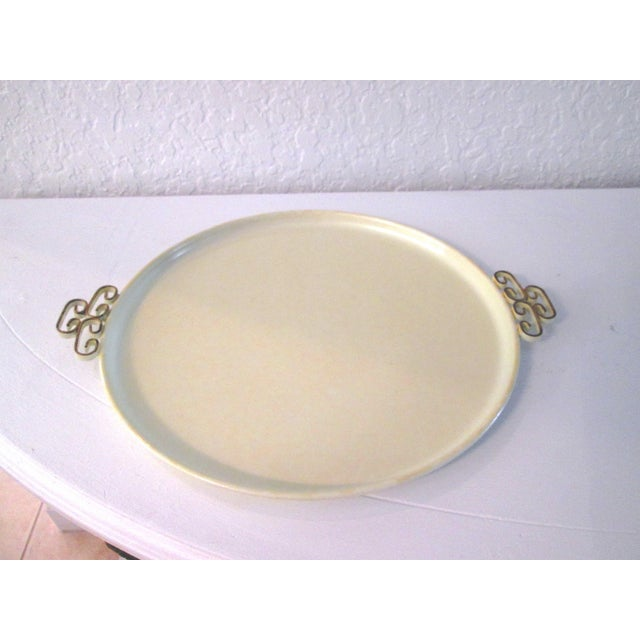 Mid-Century Modern Off-White Kyes Moiré Tray - Image 3 of 5
