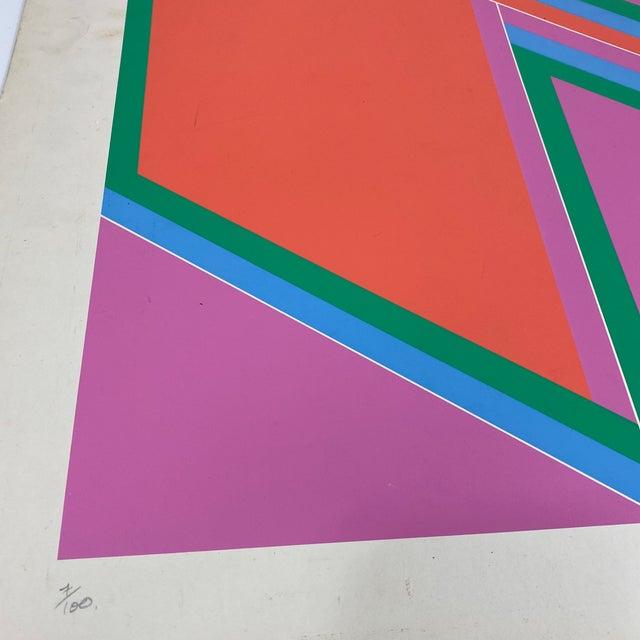 "Orange 1970s David Leverett Signed and Numbered ""Untitled"" Serigraph Unframed For Sale - Image 8 of 13"