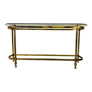 Vintage 1960s Brass & Glass Top Console Table For Sale