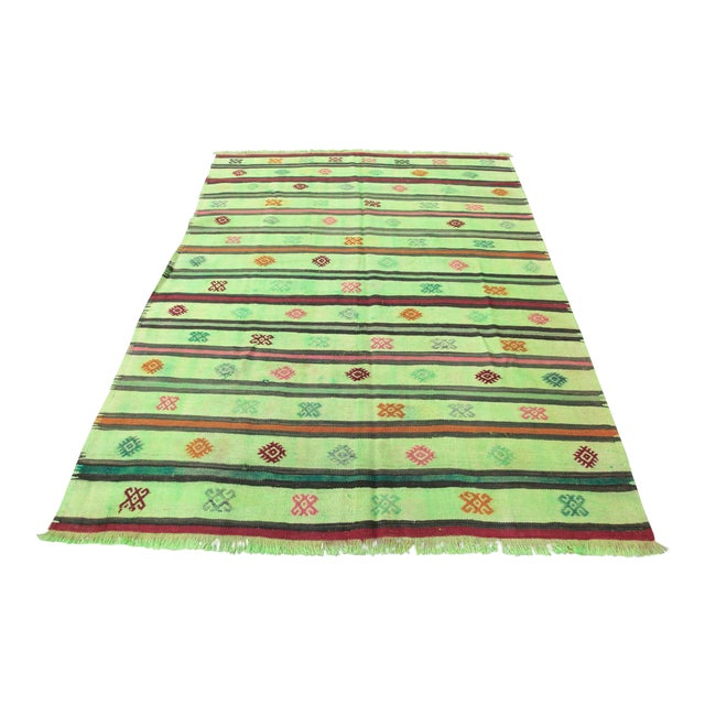 Turkish Overdyed Green Color Kilim - 7'4'' x 5'11'' For Sale
