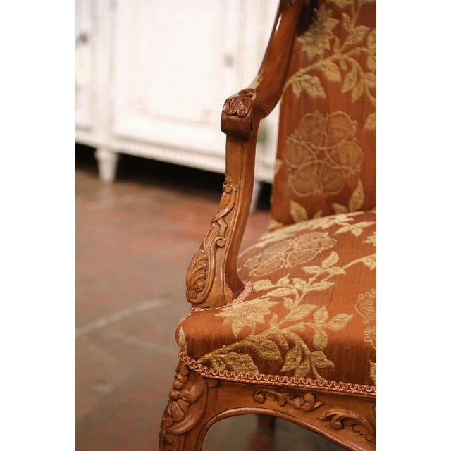 Brown 19th Century Louis XV Carved Walnut Armchairs From Provence - a Pair For Sale - Image 8 of 13