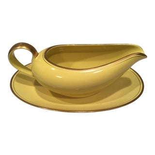 1970s Art Nouveau Fitz and Floyd Mustard China Gravy Boat