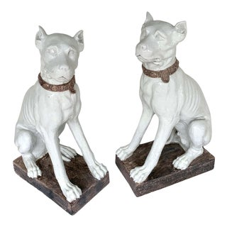 Monumental Italian Pottery Figures Seated White Great Danes With Collars - a Pair For Sale