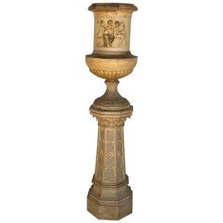 Massive Neoclassical Terracotta Garden Urn Campana-Form Depicting Goddesses For Sale