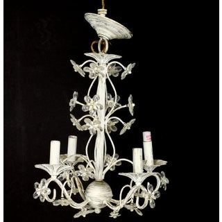Distressed White Floral Chrystal Chandelier Preview