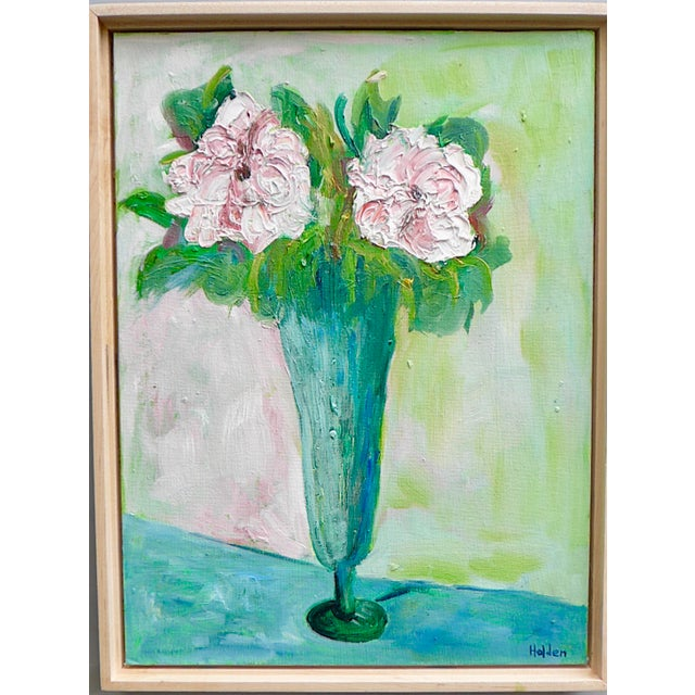 Green Impressionist Two French Roses on Green Contemporary Oil Painting For Sale - Image 8 of 8