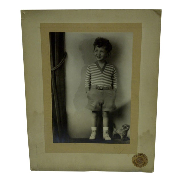 C. 1930 Little Boy Standing Black & White Photograph by Vincent Evans For Sale