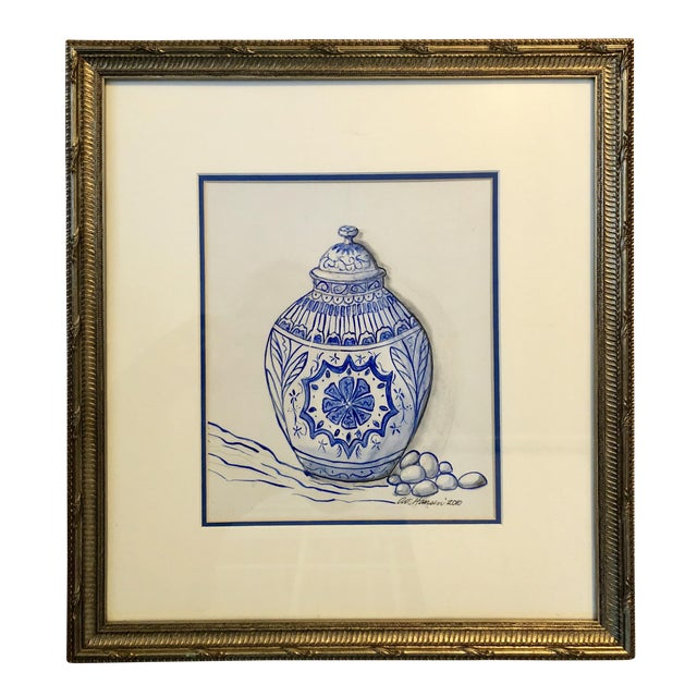 Art Hansen Blue and White Ginger Jar Painting For Sale