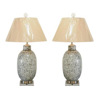 Distinctive Pair of Custom Ceramic Lamps in Charcoal and Cream, Circa 1980 For Sale