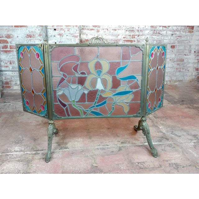 Gorgeous Art Nouveau Bronze & Stained Glass Fireplace screen For Sale - Image 11 of 12