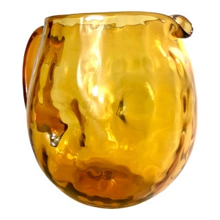 Vintage Handblown Amber Dimple Glass Pitcher For Sale