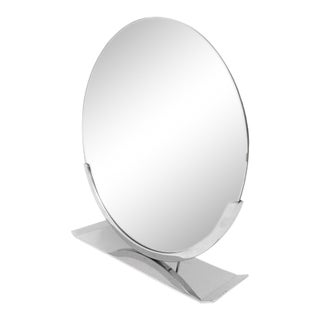 Art Deco 1930s Round Dressing Table Mirror on a Nickel Base For Sale