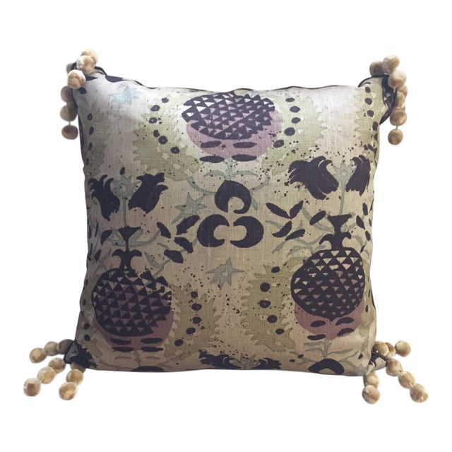 Belgian Linen Hand Printed Pillow For Sale