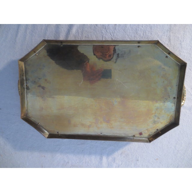 60s Brass Serving Tray With Gallery - Image 6 of 7