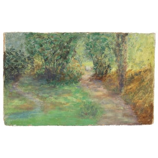 Impressionist Forest Trail, Oil Landscape Painting, Early 20th Century