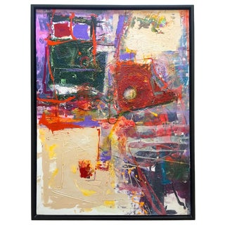 Dave McQuitty Abstract Expressionist Framed Original Mixed Media Modernist Signed Painting For Sale