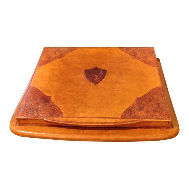 Italian Leather Desk Blotter For Sale