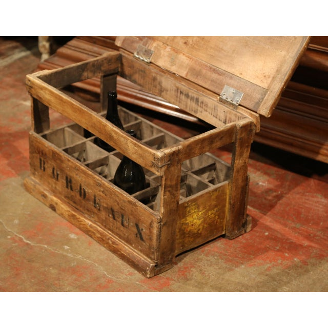 Old French Pine 15 Wine Bottle Storage Cabinet with Bordeaux Inscription For Sale In Dallas - Image 6 of 8