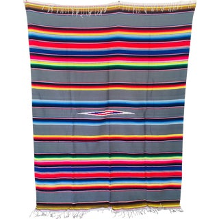 Contemporary Southwestern Multi-Color Fringed Throw/Blanket For Sale