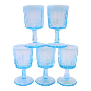 Vintage Opaline Tiffany Blue Wine Glasses - Set of 5 For Sale