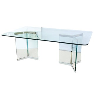 Leon Rosen for Pace Sculptural Glass Dining Table For Sale
