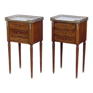 Mahogany Nightstands or Side Tables With Marble Tops - a Pair For Sale
