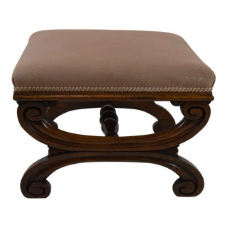 19th-Century French Walnut Footstool For Sale