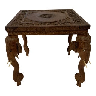Anglo Indian Rosewood Elephant Accent Table For Sale