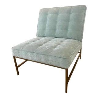 Vintage Mitchell Gold Light Blue Velvet Armless Major Chair For Sale