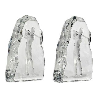 Glass Golfing Bookends - A Pair