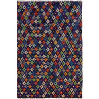 Balouchi Angeliqu Blue/Orange Wool Rug - 4'9 X 6'6 For Sale
