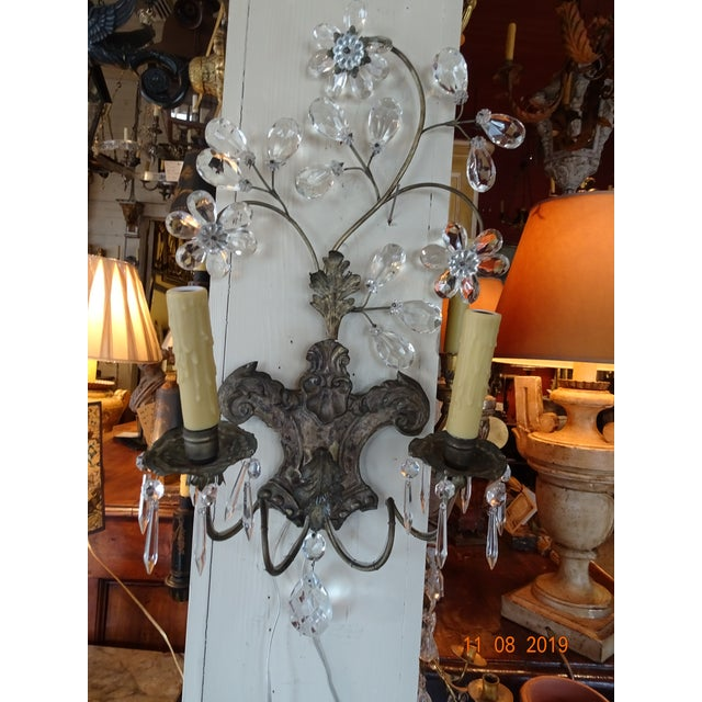 Pair of 19th Century Italian Crystal Sconces For Sale - Image 12 of 12
