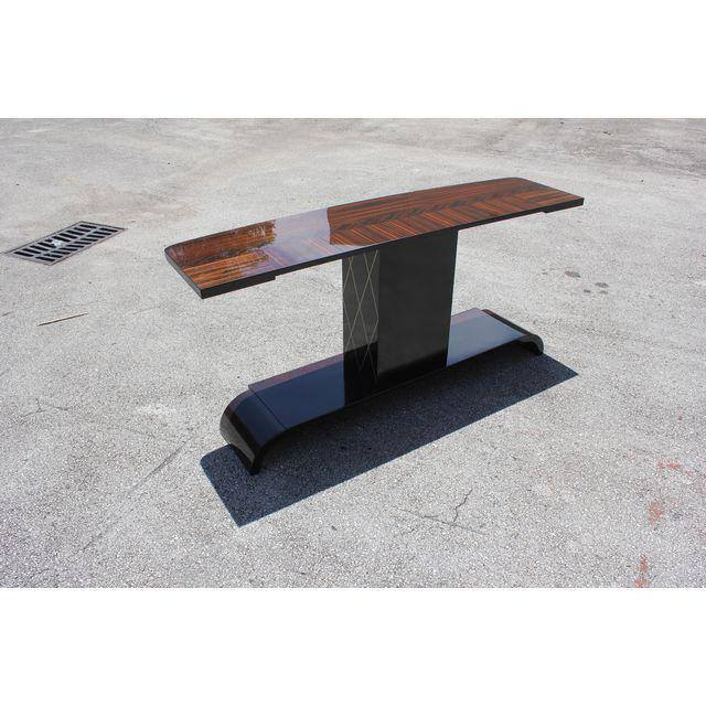 """Brown French Art Deco Exotic Macassar Ebony """"Sunray"""" Console Table, circa 1940s For Sale - Image 8 of 9"""