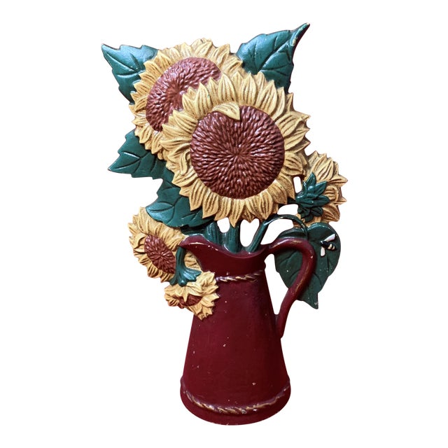 Vintage Mid Century Hand Painted Sunflowers Cast Iron Door Stop For Sale