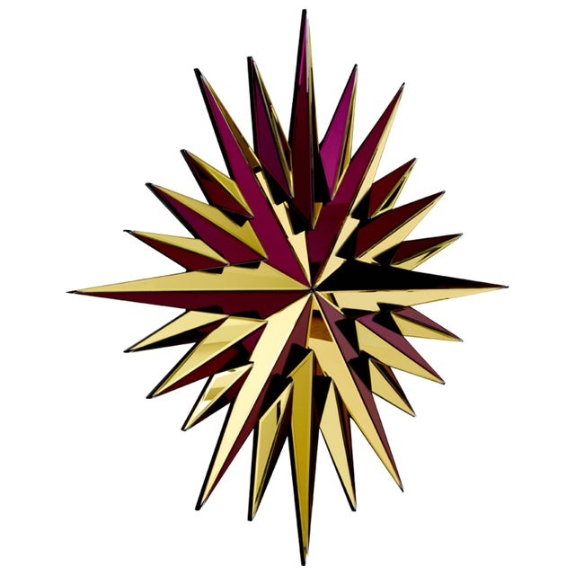 Not Yet Made - Made To Order Gold and Burgundy Super Star Mirror For Sale - Image 5 of 5