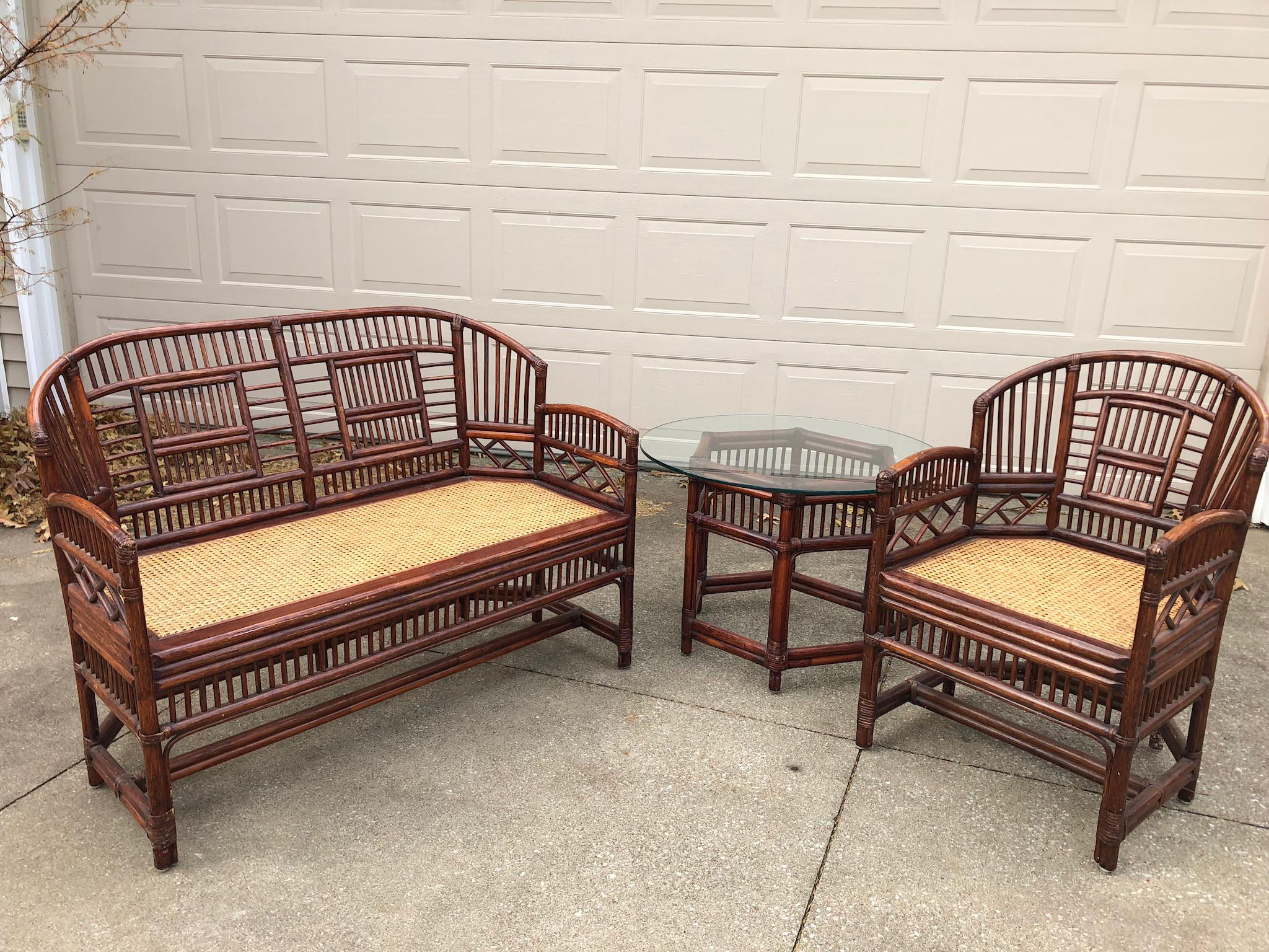 Vintage Brighton Bamboo Wicker Furniture Sofa   Set Of 3   Image 2 Of 11