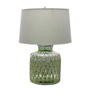 Green Jar Rope Table Lamp For Sale
