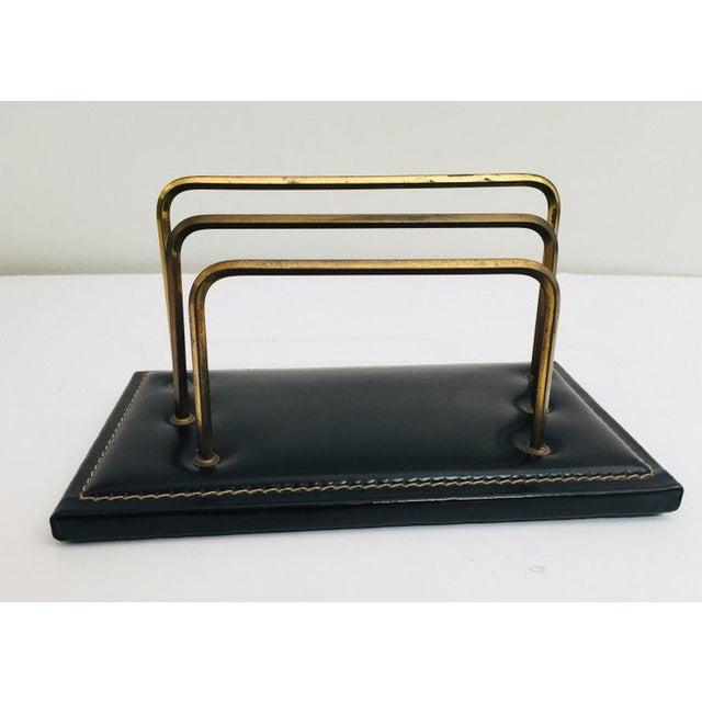 Art Deco Vintage Desk Set, Black Leather and Brass Letter Rack, Picture Frame and Notepad For Sale - Image 3 of 13