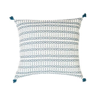 Handwoven Teal Mexican Pillow