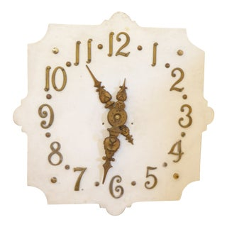 Vintage French White Marble Clock Face For Sale