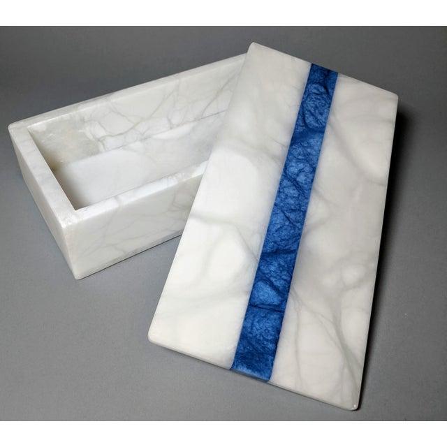 Hermès Hermes Inspired Alabaster Box With Navy Blue Stripe For Sale - Image 4 of 13